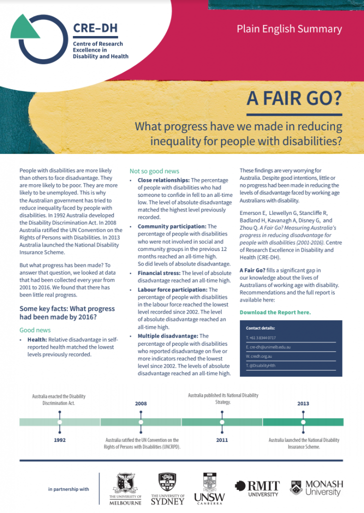 Screen shot of A4 flyer laid out in 3 columns explaining the A Fair Go? Report