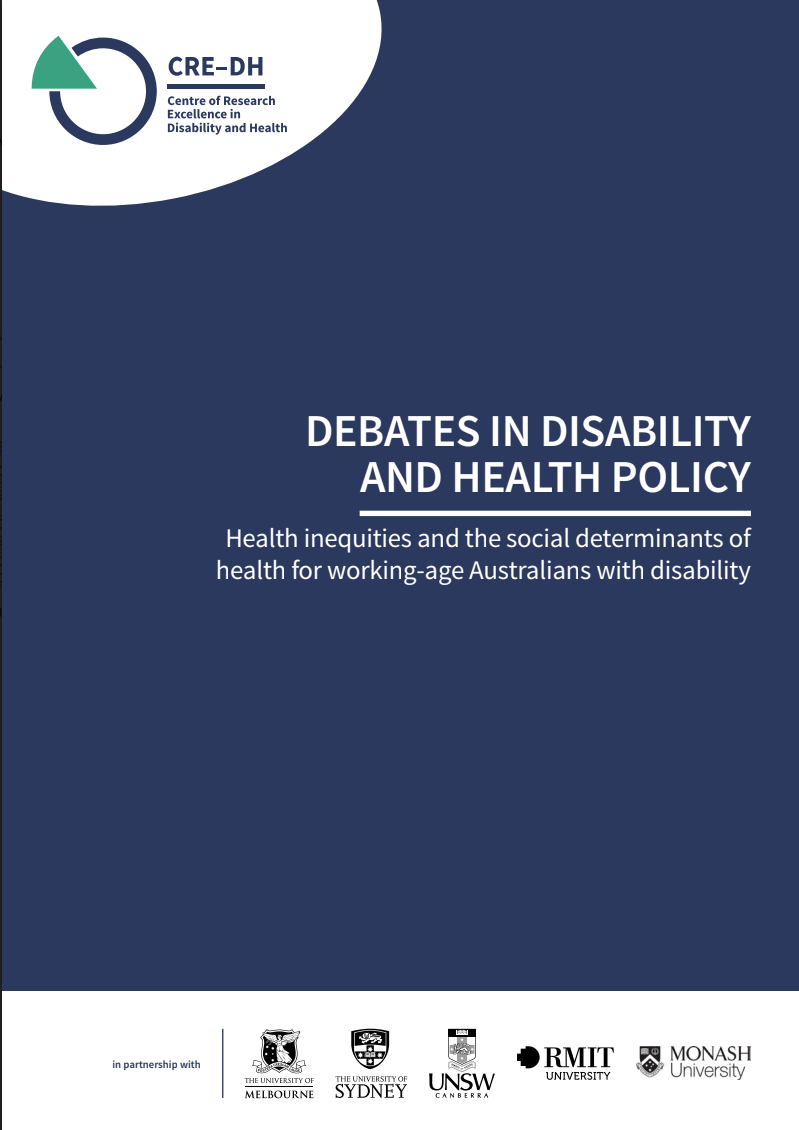 Front cover of report (blue background)