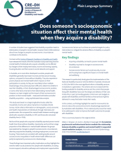 Cover shot of A4 flyer on Socioeconomics and Mental Health for PWD