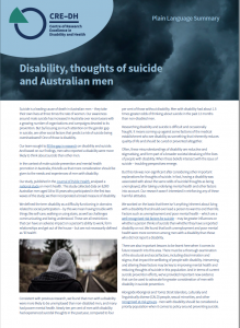 Screenshot of A4 flyer on Disability, and male suicide