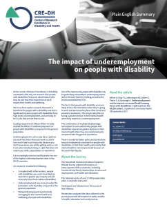 Screen short of Plain English Summary on Underemployment