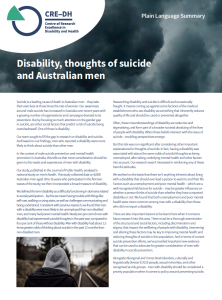 Summary of a research article on disability, suicide and Australian men