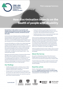 Summary of how discrimination is a health issue for people with disability