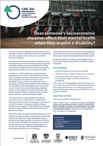 Summary of how socio-economics affects mental health, when acquiring a disability as an adult