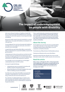 summary of how PWD are experiencing disadvantage through underemployment