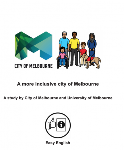 City of Melbourne logo and group of people