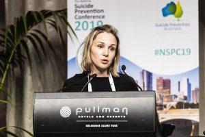 Allison Milner presenting at the Suicide Prevention Australia Conference in 2019