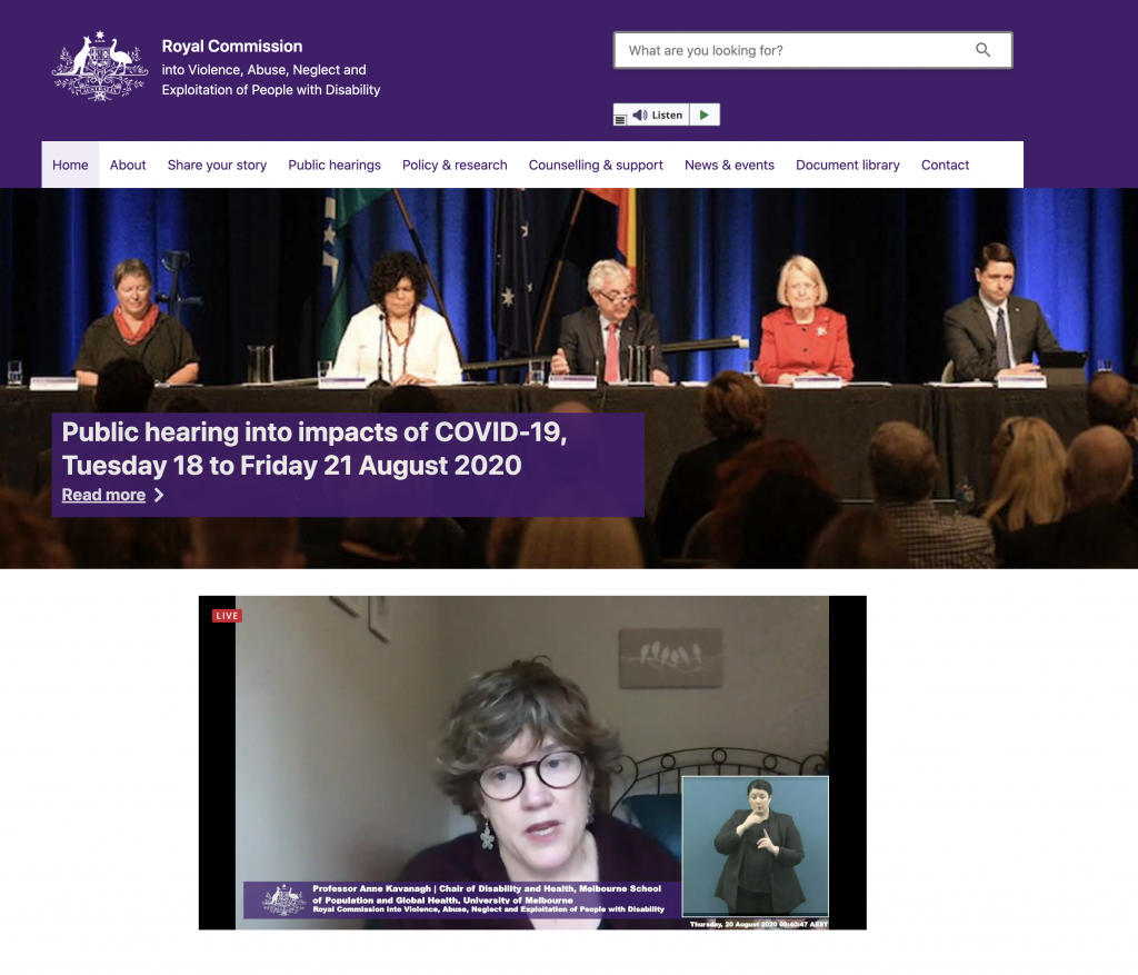 SCreenshot of Anne Kavanagh giving evidence at the Disability Royal Commission 20 March 2020