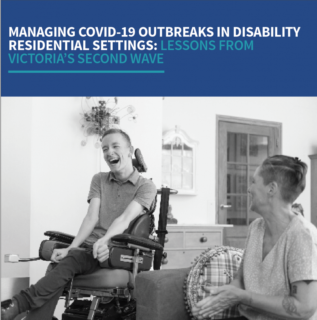Front cover of report features photo of young man in a wheelchair laughing with a female carer