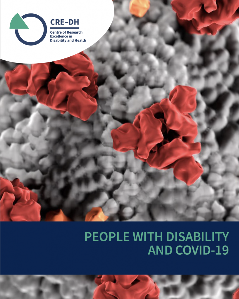 Close up of COVID-19 virus for front cover of statement of concern about disability sector and the pandemic